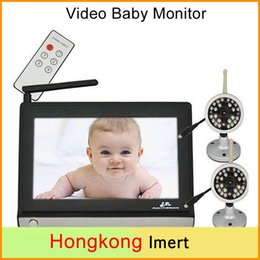 Wholesale Tft Lcd Wireless Video - Video Baby Monitor with Two Camera and 7 Inch TFT LCD 2.4GHz Wireless Baby Monitor with Night Vision +2pcs Wireless Outdoor Camera