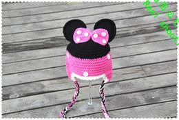 Wholesale Crochet Christmas Minnie - free shipping, 100% handmade Crochet Mickey Hat - Mickey or Minnie Crochet baby Earflaps hat ,girls hat Christmas Gift 100% cotton