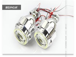 "Wholesale Devil Hid - Newest 2.8"" CCFL Angel Eye Lights Hid Xenon Lamp H4 H1 H7 Retrofit Headlight Bifocal Lossless Angel Devil Eyes Projector"