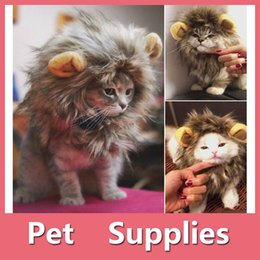 Wholesale Lion Wigs Dogs - Pet Hat Lion Mane Wig For Cat Halloween Fancy Dress Up With Ears Festival Clothes Costume