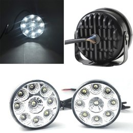 Wholesale Wholesale Fog Lights - A set track 9-LED Round Daytime Driving Running Light DRL Car Fog Lamp super White DIY