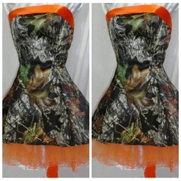 Wholesale Camo Mini Skirt - 2017 New Fashion Camo Short Mini Homecoming Dresses Tulle Skirt Lace Up Back Formal Bridesmaid Party Prom Gowns Cheap Camouflage