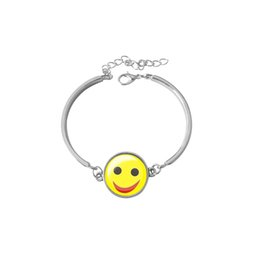 Wholesale Cute Colorful Handmade - Cute female child colorful jewelry cartoon Smile Expression & bracelets handmade bracelet gift children's day alloy glass bracelet