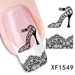 Wholesale Nail Products 3d Art - 2017 New Arrival Women's Nail Art Stickers High Heels Bud Silk Animal Red Lip Cartoon Cute 3D Design DIY Nail Products Hot Sale