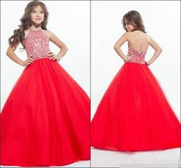 Wholesale Hot Pink Dresses For Kids - Hot Ritzee Crystals Girls Pageant Dresses for Kid A-Line Halter Beaded Backless Sweet Girls Gowns for Party Communion Gown