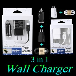 Wholesale Car Charger Retail Packaged - Wall Charger Home Plug US EU version plug 3 in 1 2 in 1 set wall charger Micro usb sync cable car charger full sets with retail package