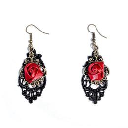 Wholesale Vintage Red Dangle Earrings - Vintage Rose Charm Dangle Earrings Trendy Black Lace Charm Earrings Antique Bronze Eardrop Personality Earrings For Women
