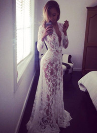 Wholesale Womens Strapless Long Dresses - 2016091701 2016 Summer European Style Womens Sexy Lace Embroidery Maxi Solid White Dress Long Sleeve Deep V Neck Vestidos Plus Size
