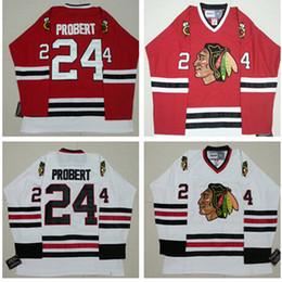 Wholesale polyester bobs - Men's cheap Blackhawks 1996-97 Vintage VINTAGE Jerseys Away White #24 Bob Probert Home Red ICE hockey Jersey