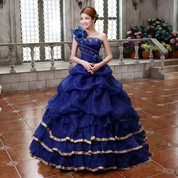 Wholesale Movie Theme - Freeship royal blue lavender yellow hot pink flowers theme party ball gown medieval dress Renaissance Gown queen dress Victorian Belle ball