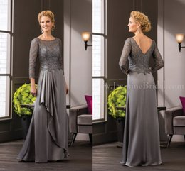 Wholesale Long Sleeve Grey Cocktail Dresses - 2016 Grey Jasmine Mother Of The Bride Dresses 3 4 Sleeve Lace Long Formal Cocktail Evening Prom Dress Custom Made
