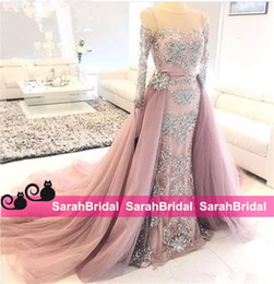 Wholesale Prom Embroidery Piece Dress - Pink Sheath Tulle Pattern Lace Appliqued Beads Illusion Neck Long Sleeves Detachable Train Luxury Two Pieces Prom Dresses 2016