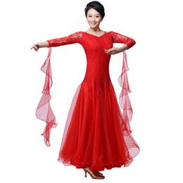 Wholesale Costume Dress Jazz - ballroom dance dress lady red rose black lulu jazz tango waltz dance dress competition performance marine costumes for women