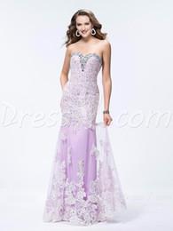 Wholesale Lavander Dresses - 2017 Sexy Lace Mermaid Lavander Evening Dresses Prom Dresses Sparkle Crystals Celebrity Vestidos De Noiva Plus size free shipping