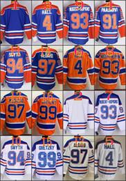 Wholesale Mix Multi - Stitched Edmonton Oiler #97 Connor McDavid 99 Wayne Gretzk Blank 4 HALL 91 PAAJAR Blue Orange White Ice Hockey Jerseys Ice Mix Order