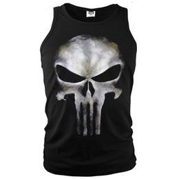 Wholesale Punisher Shirt Xl - Anti-hero The Punisher Sleeveless T-Shirt Men's Costume Tank Tops Tees Sports Ghost Shirt Skull Printed Vest