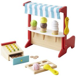 Wholesale Wooden Ice Cream Toy - New Arrived Japan Ed.Inter 2 In1 Cash Register + Ice Cream Store Wooden Toys Pretend Play Baby Toys Birthday Gift