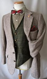 Estilos de esmoquin gris online-2017 Vintage Hecho A Medida Hecho gris espiga de lana de lana tweed tuxedos traje de hombre de estilo británico slim fit Blazer trajes de boda para hombres (traje + pantalón)