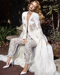 Wholesale White Jumpsuit Long - Long Sleeves Lace Jumpsuit Wedding Dresses Two In One Detachable Train Plunging Neck Pearls Lace Overskirt Bridal Gowns