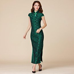 Wholesale Pink Retro Bridesmaid Dresses - Green color M-3XL Plus size women clothes retro style sheath maxi dress chinese traditional party cheongsam