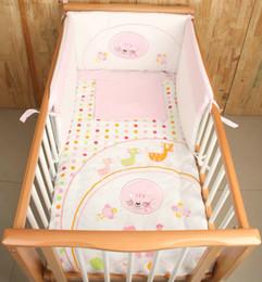Wholesale Cot Sheets - 4Pcs Cotton Baby Cot Bedding Set Newborn Cartoon Pink Cat Crib Bedding Quilt Pillow Cover Bumpers Sheet Cot Bed 120*70cm