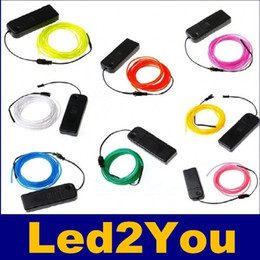Wholesale El Shoe - 3M Flexible Led Neon Light Glow EL Wire Rope Tube Cable+Battery Controller Water Resistant LED Shoes Clothing Light