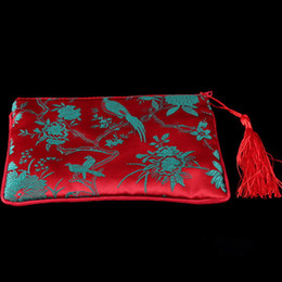 Wholesale Other Storage - Rectangle Silk Brocade Zipper Purse Phone Wallet Tassel Gift Packaging Bags Women Cosmetic Makeup Storage Pouch Wedding Favor