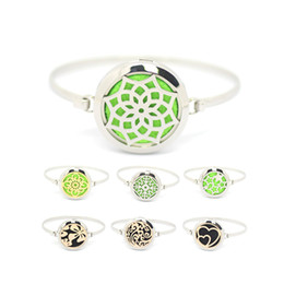 Wholesale Perfume Sets For Women - 7pcs Silver Gold Rose God 30mm Stainless Steel Magnetic Essential Oils Aromatherapy Perfume Diffuser Locket Bracelets for Women MIJ164