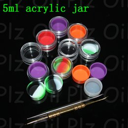 Wholesale Modern Acrylic - Transparent bho Plastic containers 5ml acrylic dab box containers for wax bho containers e-cig clear silicon oil jars