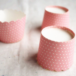 Wholesale Pink Cupcake Liners Polka Dot - Free Shipping high quality small pink muffin cup, baking tools polka dot paper cups cupcake case liners tray for party birthday