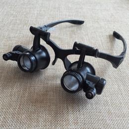 Wholesale Dental Glasses Magnifying Light - Wholesale-10X 15X 20X 25X Watch Repair Dental Loupes Binocular Glasses Style Magnifying Glass With LED Lights Eyewear Magnifier