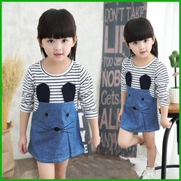 Wholesale Mouse Outfits - hot selling cute mouse striped jeans cotton baby girls dress children clothing vestido kids outfits costume free siipping