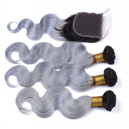 Wholesale Virgin Ombre Hair For Weave - #1B Grey Hair Bundles With Lace Closure 2 Tone Ombre Hair Hair Extensions Body Wave Virgin Hair Weaves With Lace Closure For Woman