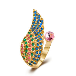 Wholesale Gold 18k Rings Wings - Accessories Bule &18K Rose Gold Plate Multicolor Angels Wing Engagement Rings With Austrian Crystals Gemstone Diamonds Wedding Jewelry