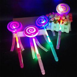 2019 palos de paletas Moda niños LED Lollipop Glow Sticks Girls Princess intermitente Fairy Wand Sticks fiesta de cumpleaños vestido de decoración palos de paletas baratos