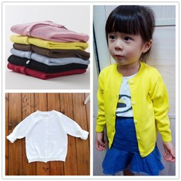Wholesale Kids Knitwear Wholesale - European Style INS Popular Spring Autumn Cotton Baby Kids Sweater Knitwear Cardigan Long Sleeve Knit Coats for Girls Candy Colors Fashion