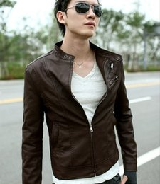 Wholesale Jacket Coat Leather Korea - 2015 men's Jacket New Korea Men Slim Fit Designed PU Leather Coat Jacket Black Brown