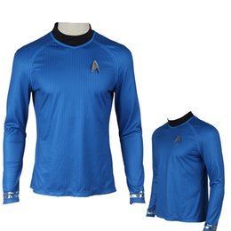 Wholesale Exclusive Cotton Shirts - NEW Exclusive COS Star Trek Into Darkness Captain Spock Shirt Uniform Halloween Cosplay Costume Handmade Customized
