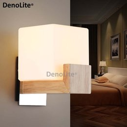 Wholesale Wall Lamp Bedroom Wood - Wholesale-Chinese Style Wooden Wall Lamp LED Balcony Bedroom Bedside Wall Lamp Lights Solid Wood+Fronsted Glass Free Shipping