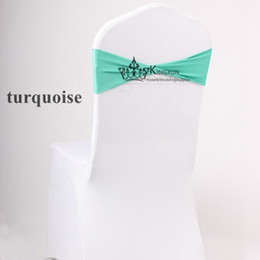 Wholesale Turquoise Chair Bands - Hot Sale Lycra Spandex Chair Cover With Turquoise Color Chair Band For Wedding