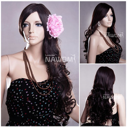 Wholesale Ladies Kanekalon Wigs - A0010 Lady Dark Brown Long Wavy Women Wigs 100% Kanekalon Synthetic Hair Wig Direct From Factory
