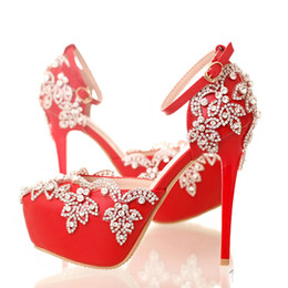 Wholesale Shoes For Nightclub - Red High Heels for Wedding with Rhinestone Lady Nightclub Formal Dress Shoes with Ankle Straps Platform Bridesmaid Shoes