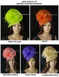 Nuevo sombrero HOT fascinator sinamay en forma especial con plumas para Melborne cup, kentucky derby, carreras de ascot, boda, colores party.5. desde fabricantes