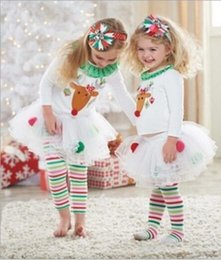 Wholesale Babys Clothes Free Shipping - Free Shipping 2016 New Retail Cute Deer Babys Christmas Clothes Long-Sleeve Girls Clothing Sets Kids Good Quality Suits outfit