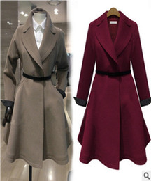 Wholesale Double Bow Belt - Womens woollen coats clothing double-breasted fashion poncho wool coats cloak autumn winter Coats 5176