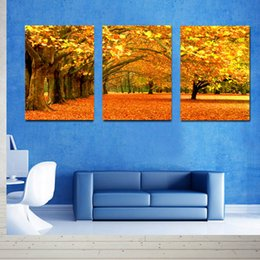 Wholesale Abstract Canvas Art 3pc - Hot Sell 3 Piece Canvas Modern Triptych Wall Painting Golden Avenue Road Home Decorative Art Picture Prints on Canvas Prints 24in*16in*3pc