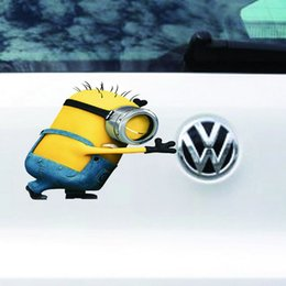 Wholesale Self Adhesive Carbon Fiber - Wholesale Cool 3D Waterproof Funny Despicable Me Minions Movie Cover Auto Car Vinyl Decal Truck Tail Stickers Beside Logo Self-adhesive