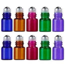 Wholesale fragrance sales - 5 Colors 1000pcs  lot 1ml 2ml Mini Roll On Glass ESSENTIAL OIL BOTTLES Perfume Stainless Steel Roller Ball Fragrance Bottles Vials For Sale