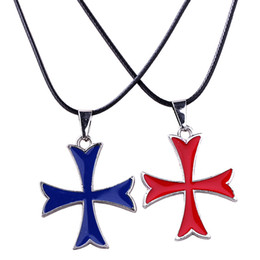 Wholesale Pendant Souvenir - Assassin's Creed Syndicate Knights Templar Medieval Design Cross Logo Assassins Creed pendant Necklace Souvenirs For Men Women 0903828-5