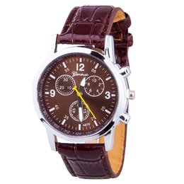 Wholesale Leather Dresses For Sale - Hot sale Geneva Fashion Watches Women Men Dress Watch Quartz PU Leather Casual Watch clock sports outdoor wristwatches For Mens Woman Gift